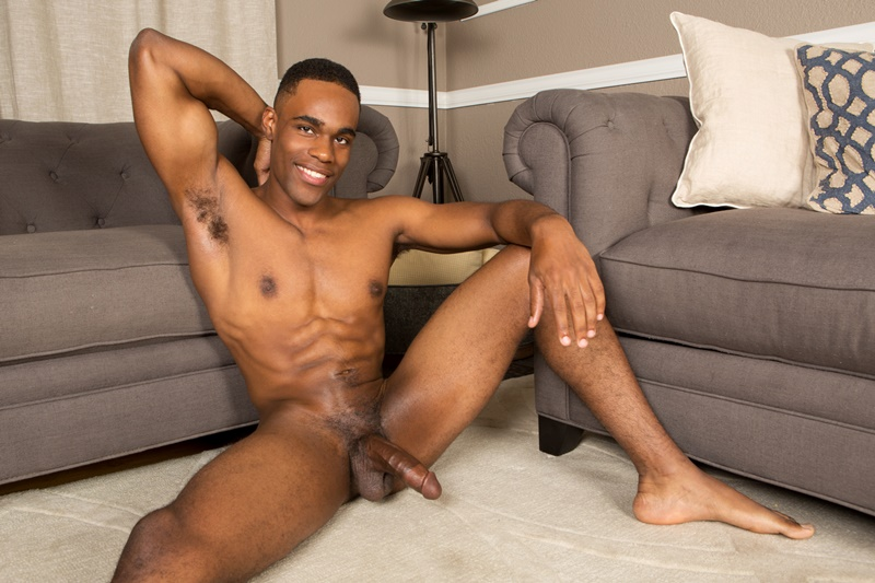 Naked black gay man