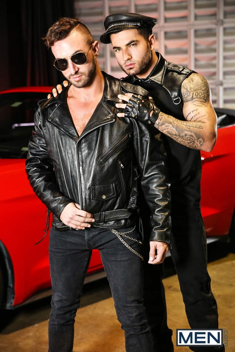 Men for Men Blog Vadim-Black-Grant-Ryan-strip-nude-sexy-dudes-sucking-huge-cocks-off-Men-002-gay-porn-pictures-gallery Vadim Black and Grant Ryan strip out of their leather driving gear sucking each other's huge cocks off Men
